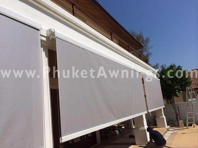 Vertical awning roll up sunshade with soltis sun screen for Vertical retractable screen